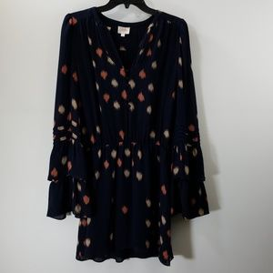 Parker Navy Printed Silk A-line Dress Size S